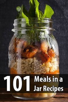 prepper stores food, but only a few make meals in a jar. This is a shame because they're a very easy way to enjoy delicious meals during a disaster. Mason Jar Lunch, Mason Jars, Mason Jar Meals, Meals In A Jar, Coconut Dessert, Cooking Recipes, Healthy Recipes, Jar Recipes, Juicer Recipes