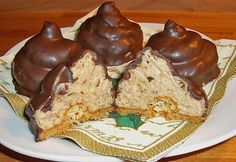 "The German cake Granatsplitter or in English ""Chocolate Mountain"" is a typical German cake that is made out of the left overs from cakes and tarts. German Desserts, Just Desserts, German Recipes, Chocolate Mountains, English Chocolate, Cookie Recipes, Dessert Recipes, German Baking, German Cake"