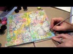 Real time video of me creating an art journal page in my moleskien sketch book. Stampendous pen pattern butterfly stamp is colored with springtime twinkling ...