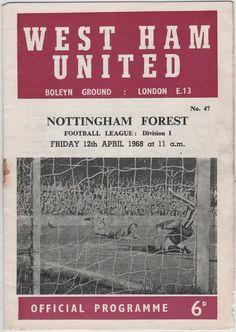 Vintage Football (soccer) Programme - West Ham United v Nottingham Forest, season Football Icon, Football Soccer, Vintage Gifts, Etsy Vintage, Nottingham Forest Fc, Leeds United, Football Program, West Ham, Vintage Football