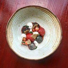 """Last of the season Strawberries black pepper ricotta buckwheat saltine""  By @brandonbaltzley at @ribellebkline . by tastefullyartistic"