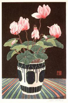 Cyclamen, Color woodblock print [1928] by Urushibara Mokuchū