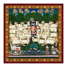 Traditional Indian Painting of Festival of The Cattle, Pichvai (Large Size) Antique Painting Style - Giclée Fine Art Print Pichwai Paintings, Selling Paintings, Indian Paintings, Original Paintings, Krishna Painting, Krishna Art, Shree Krishna, Antique Paint, Painting Gallery