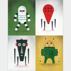 """Robot Quad 002 Limited Edition Print  28.00 This limited edition giclee print is printed on 100% cotton rag and signed by the artist, David Plunkert. This edition is limited to 250. Image area is approximately 7"""" x 9"""". Mat measures 11"""" x 14""""."""