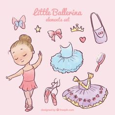 Beautiful little ballerina with her complements Free Vector Ballerina Party, Little Ballerina, Ballerina Illustration, Little Girl Illustrations, Ballerina Drawing, Dance Images, Adobe Illustrator Tutorials, Ballet Costumes, Partys