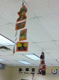 Need to make these for my classroom! Splats, Scraps and Glue Blobs: art room organization High School Art, Middle School Art, Mobiles Art, Classe D'art, Art Classroom Management, Arte Van Gogh, Ecole Art, Classroom Displays, Library Displays