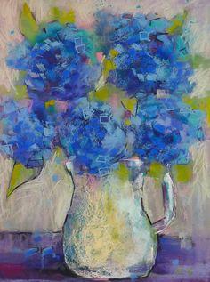 BLUE HYDRANGEAS Large Original Pastel Painting
