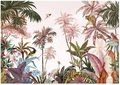 wallpaper Southeast Asia Hand-painted Tropical Rain Forest Coconut Tree Green Plants Wallpaper, Retro Animals, Monkey and Birds with Plants Wall Mural Plant Wallpaper, Photo Wallpaper, Wall Wallpaper, Wild Animal Wallpaper, Pintura Exterior, Cleaning Walls, Smooth Walls, Traditional Wallpaper, Custom Wallpaper