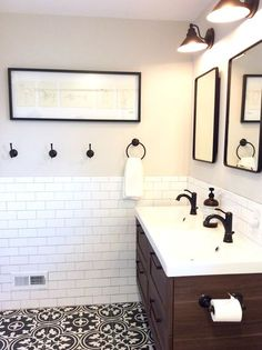 Fresh Farmhouse Bath. Black, White and Wood Bathroom. Ikea Godmorgen and Odensvik, Pottery Barn Medicine cabinets, Kohler fixtures, Ikea Picasso print, Somertile Floors, White Subway Tile, Oyster Gray grout, original design by beam&bloom