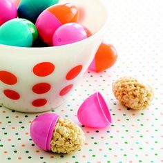 Such a great idea from Better Homes and Gardens: stuff plastic Easter eggs with still-soft Rice Krispie treats!