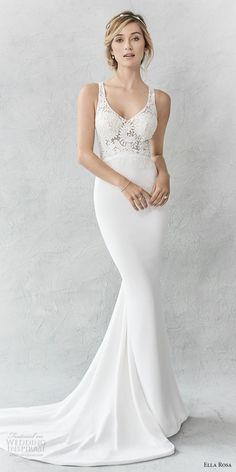 Ella Rosa spring 2017 bridal sleeveless with strap scoop neck heavily embellished bodice elegant sheath wedding dress rasor back sweep train (360) mv #wedding #bridal