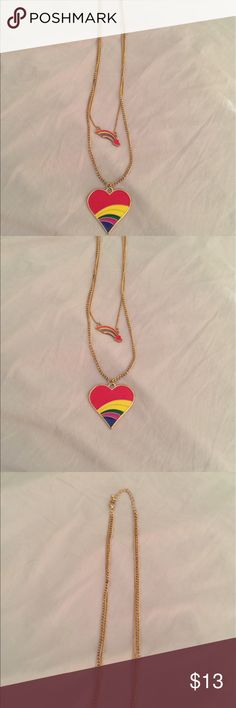 "Necklace Double stranded rainbow heart necklace, inside chain approximately 13-1/2"", outside chain approximately 16"", super cute & fun! , very gently used, Great for big & little girls lol !!! Jewelry Necklaces"