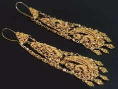 Antique gold filigree dangle earrings by adinantiquejewellery