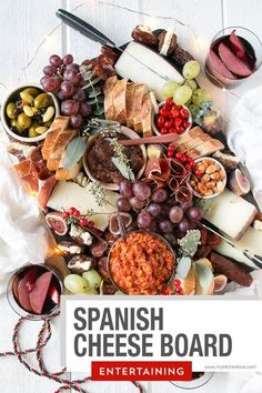 Perfect for any gathering, especially the holidays, this Spanish Cheese Board is a stunning addition to any party or get together. Spanish Cheese, Party Snacks, Starters, Appetizers, Treats, Food, Sweet Like Candy, Appetizers For Party, Snacks