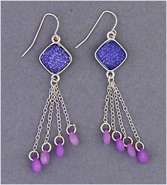 Simply Whispers hypoallergenic and nickel free Jewelry pierced earring silver French hook purple diamond silver chain purple drops