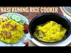 Resep nasi kuning rice cooker enak banget - YouTube Rice Recipes, Cooking Recipes, Rice Porridge, Indonesian Cuisine, Rice Cooker, Guacamole, Food And Drink, Vegan, Meals