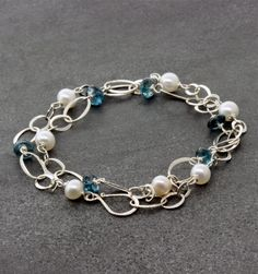 """Susan Schaps London Blue Topaz & Pearl Necklace - Sterling Silver, London Blue Topaz and Freshwater Pearl Necklace, 18"""""""
