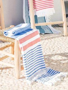 Fouta double face enfant Bleu/blanc/rose+Rose/blanc Beach Accessories, Deco, Beach Mat, Towel, Weaving, Outdoor Blanket, Stripes, Inspiration, Weaving Looms
