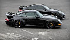 Black #Porsche #993TurboS and #997TurboS.