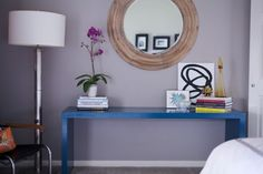 Entry look- large mirror, bright console table