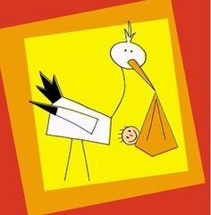 Geboortekaartje met ooiervaar. De goedkoopste geboortekaartjes online ontwerpen en bestellen via http://www.geboortepost.nl/geboortekaartjes/cartoons/colorful-stork-girl.html