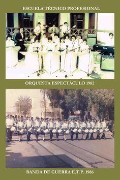 """La Orquesta Espectáculo nació como """"Banda Espectáculo"""" el año 1982. Desde 1988,  es dirigida por don Sergio Olivares Olivares.  En 1986, se creó la Banda de Guerra y fue dirigida por el inspector Logan Pesenti Rivera. Logan, War, Orchestra, Sash"""