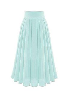 Women's high waisted chiffon skirt pleated long skirt princess skirt S05
