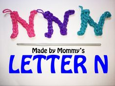 Loomless Letter N made using rubber bands and a basic crochet hook. Made without the loom, but you can use the hook that comes with your Rainbow Loom, CraZLo. Loom Band Charms, Rubber Band Charms, Loom Band Bracelets, Rubber Bands, Making Bracelets, Rainbow Loom Bands, Rainbow Loom Charms, Rainbow Loom Bracelets, Rainbow Nail Art