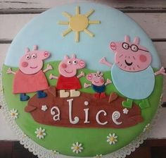 Peppa Pig Cake Ideas - Family & Muddy Puddle Cake  Birthday Party Cake, Peppa Pig, George Pig, Daddy Pig, Mummy Pig, Peppa House, Muddy Puddle, Red Car, Dinosaur