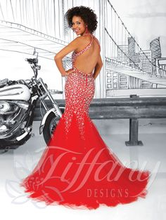 Tiffany Designs Style 16045: Sweetheart neckline with halter straps, sheer midriff, fully sequined and rhinestone bodice, godet tulle trumpet skirt with sweep train, keyhole back, zipper back. Tulle/Bead #prom #prom2014 #dress #promdress #reddress #red #pageant #tiffanydesigns #houseofwu