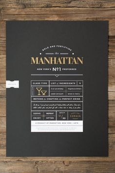 Limited Run Manhattan whiskey cocktail poster. Metallic gold and white screen print on 100 lb Black paper. Handcrafted die cut sticker