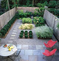 What a great backyard garden. I love that it is green, but there is no lawn to mow! Love the gravel and paving stones
