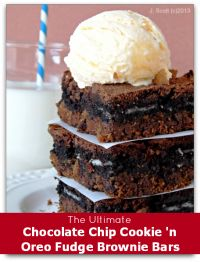 The Ultimate Chocolate Chip Cookie and Oreo Brownies on MyRecipeMagic.com. These are a chocolate lovers dream! #brownies #oreo #dessert