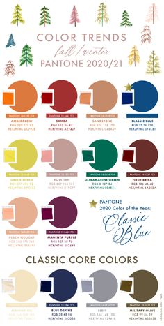fall 2020 fashion trends Pantone Fall 2020 Winter 2021 Color Trends by Erika Firm Color Trends, Color Combos, Color Schemes, Paleta Pantone, Pantone Color Chart, Pantone Colours, Yellow Pantone, Pantone Colour Palettes, Stoff Design