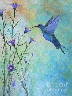 Lavender #Hummingbird #art @fineartamerica by #rokinronda