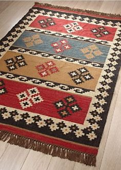 Indian-Diamond-Stripe-JUTE-WOOL-KILIM-Rug-4-sizes-FREE-Anti-slip-Underlay Oriental Pattern, Oriental Rug, Jute, Boho Home, Red Rugs, Rug Hooking, Textile Patterns, Woven Rug, Floor Rugs