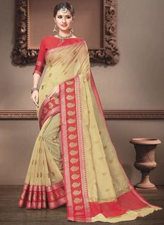 Weaving Cream Cotton Silk Traditional Designer Saree