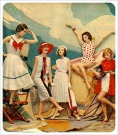 1957 McCalls Magazine.#vintage #fashion #50's #sailing #nautical #stripes #dots