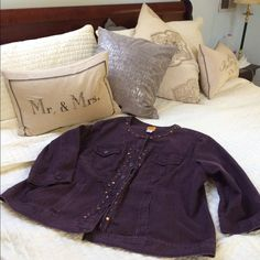 Purple Beaded jacket This jean jacket is purple Jean fabric with exquisite bead detail and 3/4 sleeve roomy and cute. I wear a petite large and enjoy the roomy feel of this jacket over a sweater or blouse Ruby Rd. Jackets & Coats Jean Jackets