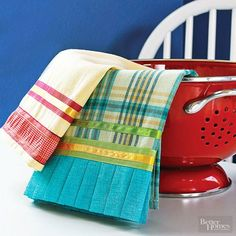 Quickly dress up tea towels with a variety of coordinating ribbons and fabric ruffles. Simply cut the trims slightly longer than the width of the towel, then topstitch the strips in place./