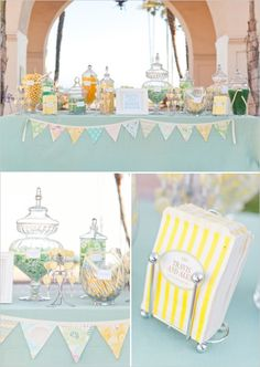 Yellow & Mint -- really like these colors paired with possibly burlap and white.