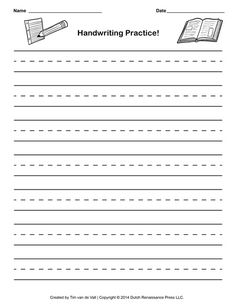 Handwriting Paper Kindergarten  Crystal Hoffman Handwriting