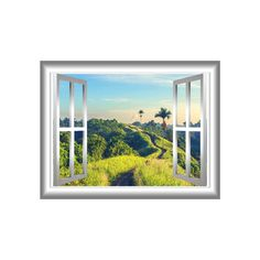 Green Hills 3D Wall Sticker Art Palm alberi finestra cornice uno splendido scenario Peel & Stick facile applicarsi Home Decor parete murale NW19