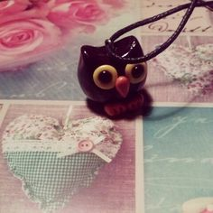 Brown fimo clay owl #crafts #fimo #cernit #polymerclay #owl #cute #brown