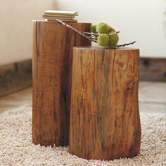 Fallen Wood Accent Stump Tables   VivaTerra
