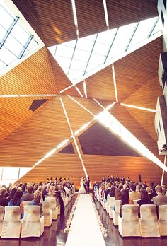 Brides.com: . McNamara Alumni Center in Minneapolis, Minnesota. It's impossible not to make a grand entrance into Memorial Hall, an amazing wood-walled geometric space flooded with light; McNamara Alumni Center.