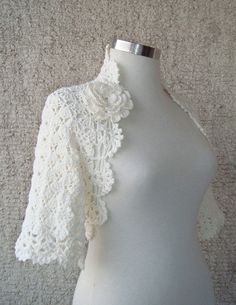 Ivory Dreamy Bridal Cotton Crochet Shrug  Nr 02 by Starknitting, $65.00