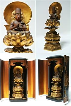 Japanese Gilt Wood Dainichi Nyorai Wood Wooden Sculpture Statue for Zushi Shrine Altar