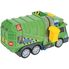 "Fast Lane Light & Sound Garbage Truck by Toys R Us. $36.57. CHOKING HAZARD - Small parts. Not for children under 3 yrs.. Recommended Age: 3 years and up. It's your turn to be the trash man with the Fast Lane Garbage Truck, a Toys""R""Us exclusive! Featuring light and sound buttons, a garbage can lift on the side and a back hatch, this totally awesome truck provides endless hours of trash-collecting fun. The Fast Lane Garbage Truck features: Includes 1 garbage tru..."