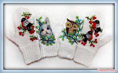 Рукавички для мамы и дочки) Mitten Gloves, Knit Dress, Winter Hats, Crochet Hats, Knitting, Gloves, Mittens, Accessories, Handarbeit